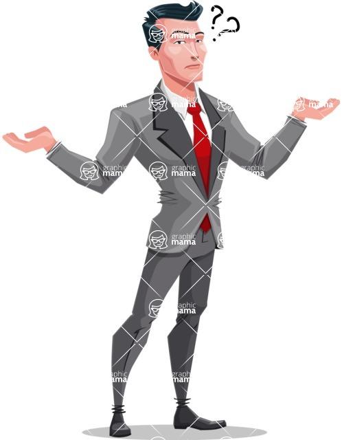 Modern Flat Style Businessman Cartoon Character - Feeling confused