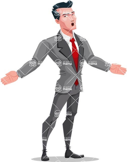 Modern Flat Style Businessman Cartoon Character - Feeling lost