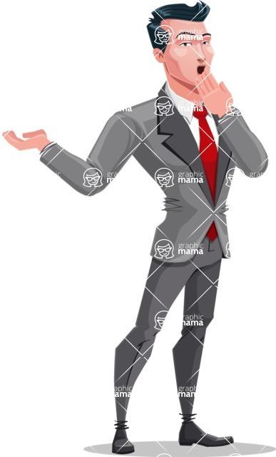 Modern Flat Style Businessman Cartoon Character - Feeling shocked