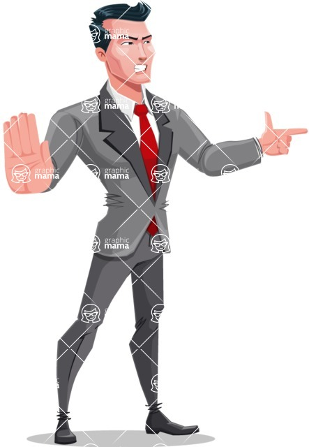 Modern Flat Style Businessman Cartoon Character - Finger pointing with angry face