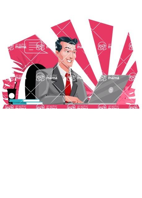 Modern Flat Style Businessman Cartoon Character - Focused on work