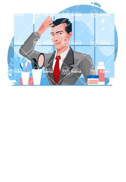 Modern Flat Style Businessman Cartoon Character - Getting ready in the bathroom