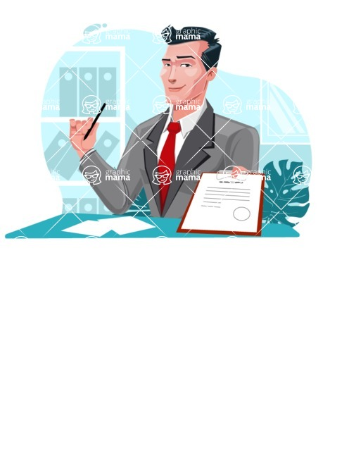 Modern Flat Style Businessman Cartoon Character - Handing over constract