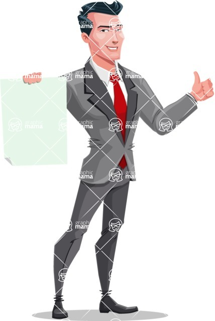 Modern Flat Style Businessman Cartoon Character - Holding a blank sign