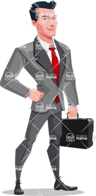 Modern Flat Style Businessman Cartoon Character - Holding a briefcase