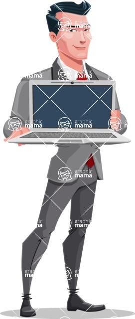 Modern Flat Style Businessman Cartoon Character - Holding a laptop