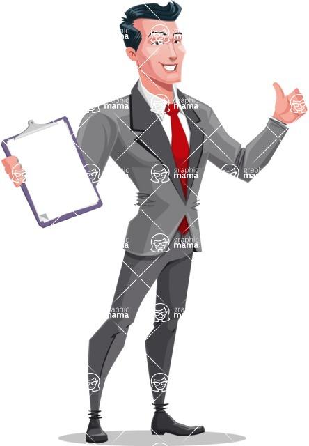 Modern Flat Style Businessman Cartoon Character - Holding a notepad