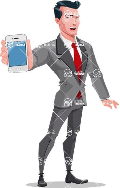 Modern Flat Style Businessman Cartoon Character - Holding a phone