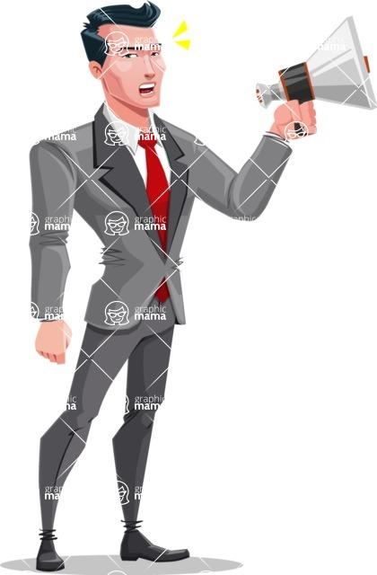 Modern Flat Style Businessman Cartoon Character - Holding a speaker