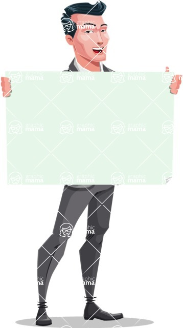 Modern Flat Style Businessman Cartoon Character - Holding blank banner with a smile