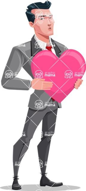 Modern Flat Style Businessman Cartoon Character - Holding heart