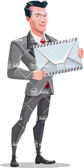Modern Flat Style Businessman Cartoon Character - Holding mail envelope