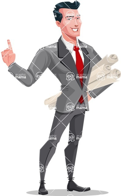 Modern Flat Style Businessman Cartoon Character - Holding plans