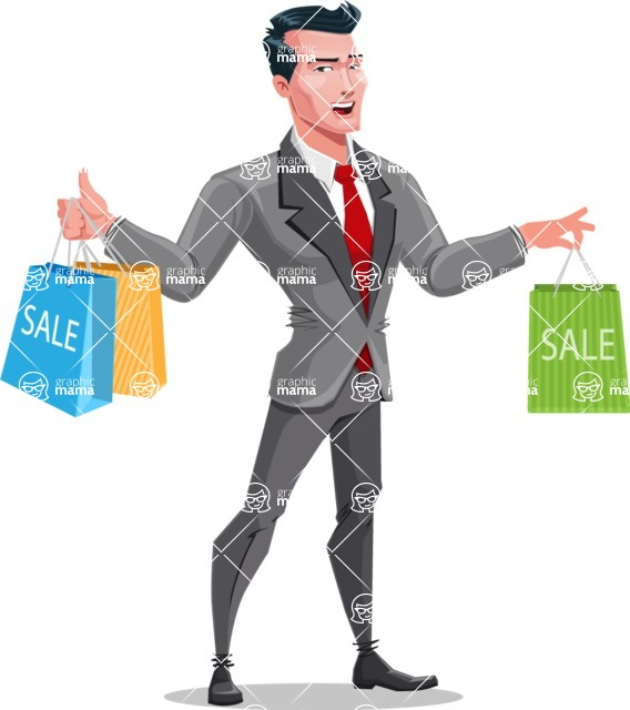 Modern Flat Style Businessman Cartoon Character - Holding shopping bags from sale