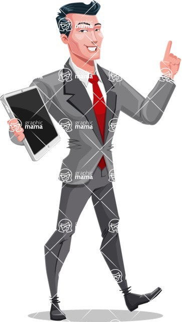 Modern Flat Style Businessman Cartoon Character - Holding tablet and pointing