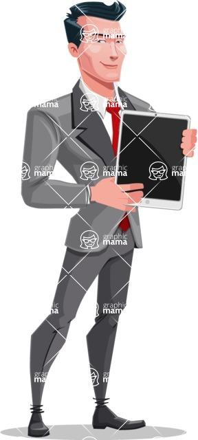 Modern Flat Style Businessman Cartoon Character - Holding tablet