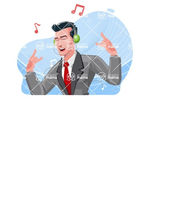 Modern Flat Style Businessman Cartoon Character - Listening to music