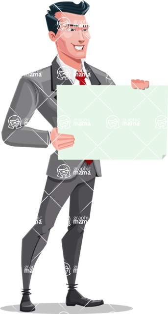 Modern Flat Style Businessman Cartoon Character - Looking at blank sign