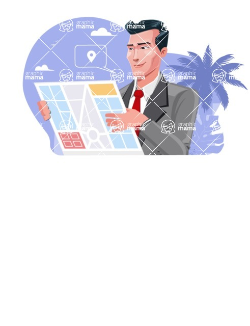 Modern Flat Style Businessman Cartoon Character - Looking at map