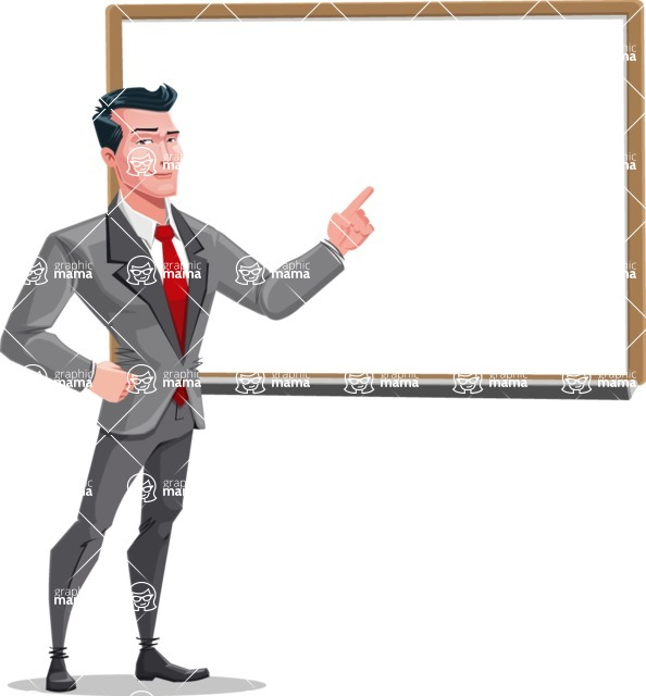 Modern Flat Style Businessman Cartoon Character - Making a presentation on a blank whiteboard