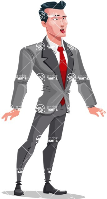 Modern Flat Style Businessman Cartoon Character - Making funny face