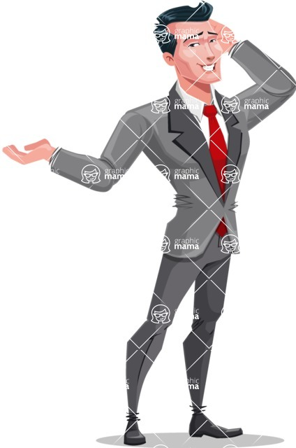 Modern Flat Style Businessman Cartoon Character - Making oops expression