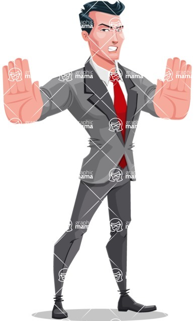 Modern Flat Style Businessman Cartoon Character - Making stop gesture with both hands