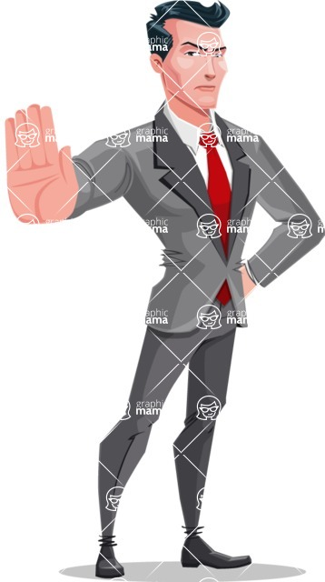 Modern Flat Style Businessman Cartoon Character - Making stop with a hand