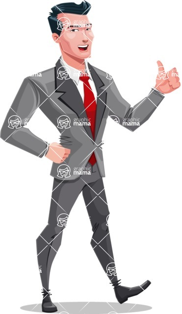 Modern Flat Style Businessman Cartoon Character - Making Thumbs Up