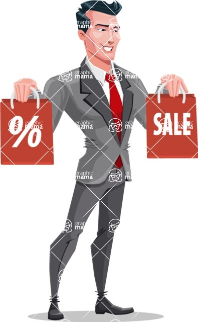 Modern Flat Style Businessman Cartoon Character - On a sale with bags
