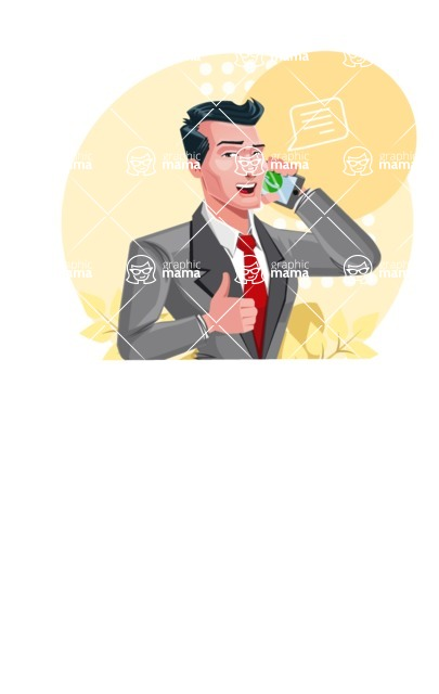 Modern Flat Style Businessman Cartoon Character - Painting on a canvas