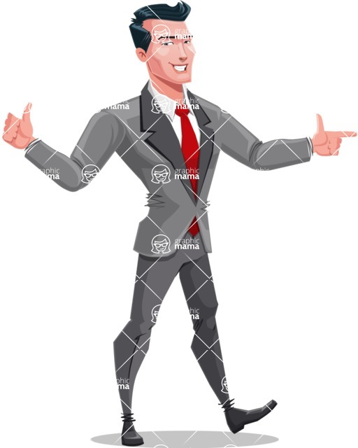 Modern Flat Style Businessman Cartoon Character - Pointing and making thumbs up