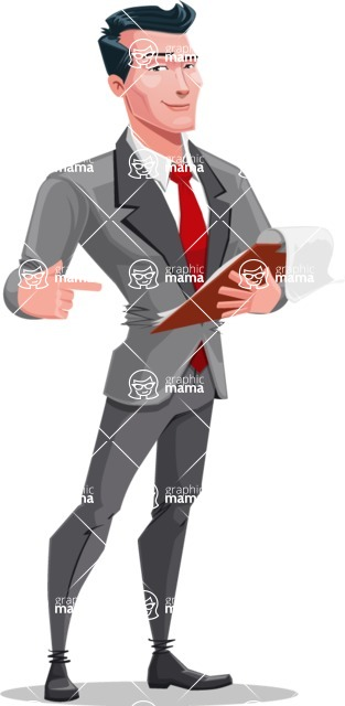 Modern Flat Style Businessman Cartoon Character - Pointing at notepad