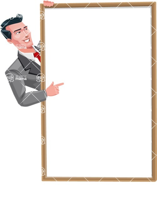 Modern Flat Style Businessman Cartoon Character - Pointing on a blank whiteboard