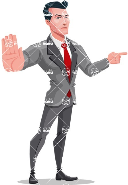 Modern Flat Style Businessman Cartoon Character - Pointing with a finger
