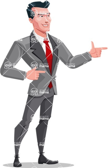 Modern Flat Style Businessman Cartoon Character - Pointing with both hands