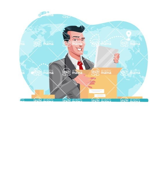 Modern Flat Style Businessman Cartoon Character - Preparing to send a package