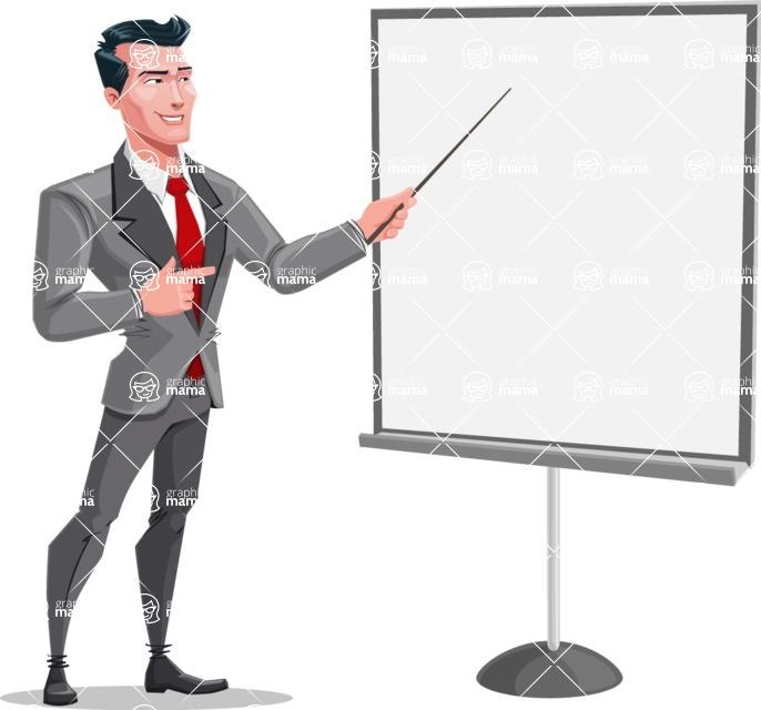 Modern Flat Style Businessman Cartoon Character - Presenting on a blank whiteboard