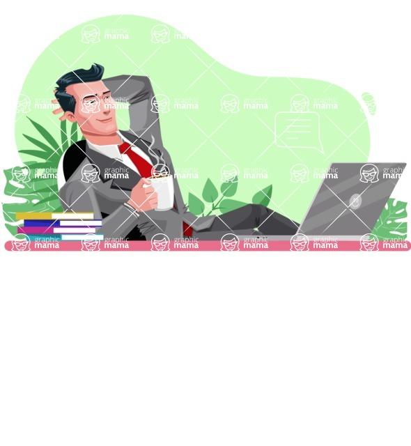 Modern Flat Style Businessman Cartoon Character - Relaxing at desk