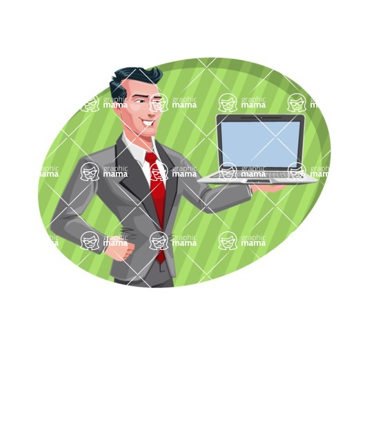 Modern Flat Style Businessman Cartoon Character - shape4