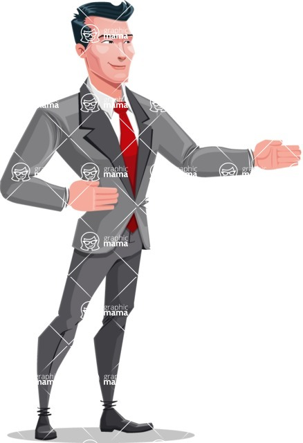 Modern Flat Style Businessman Cartoon Character - Showing and looking at the same direction
