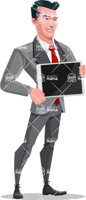 Modern Flat Style Businessman Cartoon Character - Showing tablet