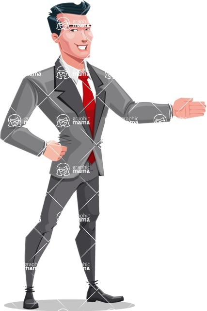 Modern Flat Style Businessman Cartoon Character - Showing with a smile