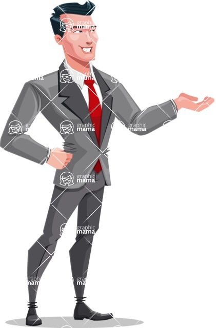 Modern Flat Style Businessman Cartoon Character - Showing with left hand