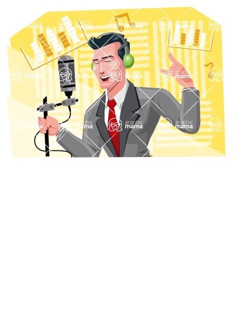 Modern Flat Style Businessman Cartoon Character - Singing in a studio