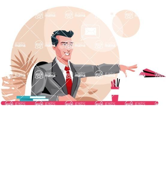 Modern Flat Style Businessman Cartoon Character - Sitting at desk sending a paper airplane