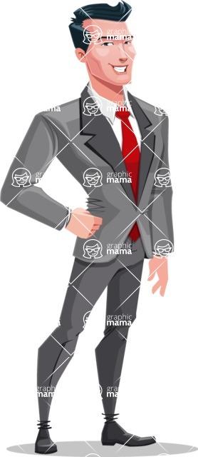 Modern Flat Style Businessman Cartoon Character - Smiling