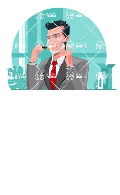 Modern Flat Style Businessman Cartoon Character - Spraying perfume and touching up makeup