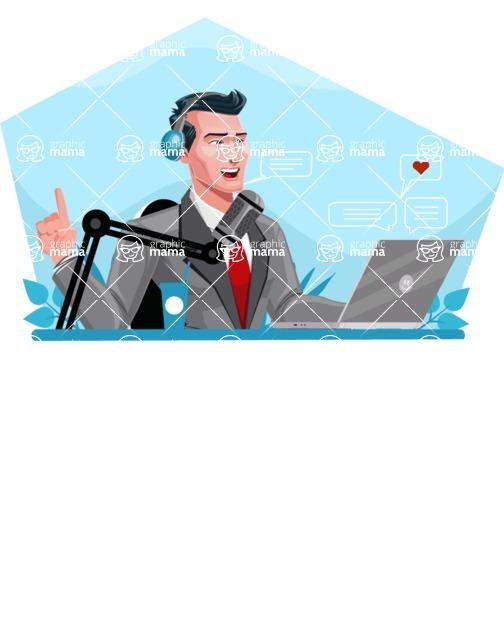 Modern Flat Style Businessman Cartoon Character - Streaming on laptop