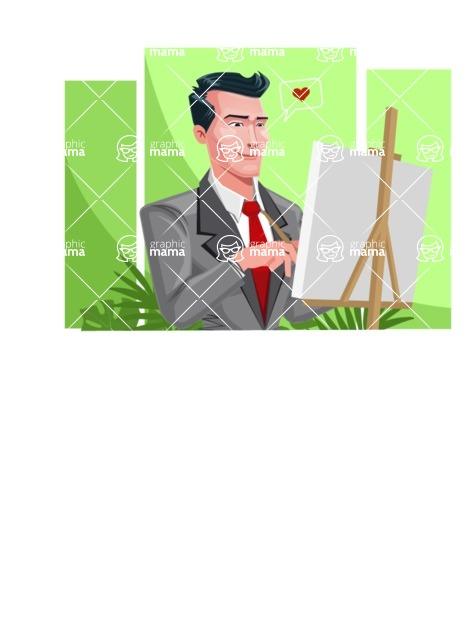 Modern Flat Style Businessman Cartoon Character - Talking on phone